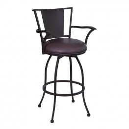 "Armen Living Dynasty 26"" Arm Barstool in Auburn Bay finish with Brown Pu upholstery"
