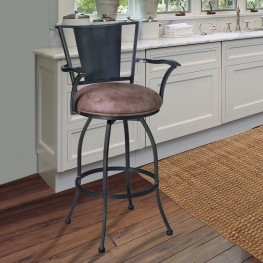 "Armen Living Dynasty 26"" Arm Barstool in Mineral finish with Bandero Tobacco Fabric upholstery"