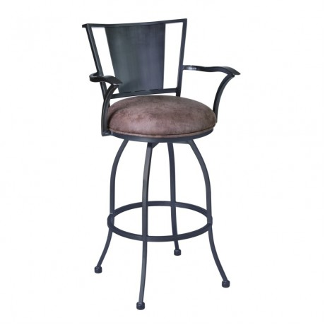 "Armen Living Dynasty 30"" Arm Barstool in Mineral finish with Bandero Tobacco Fabric upholstery"