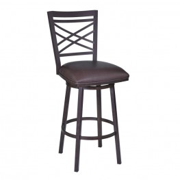 "Fargo 26"" Barstool in Auburn Bay finish with Brown Pu upholstery"