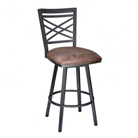 "Armen Living Fargo 26"" Barstool in Mineral finish with Bandero Tobacco upholstery"