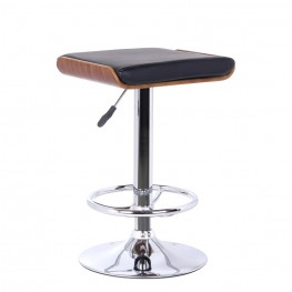 Java Barstool in Chrome finish with Walnut Wood and Black Pu upholstery