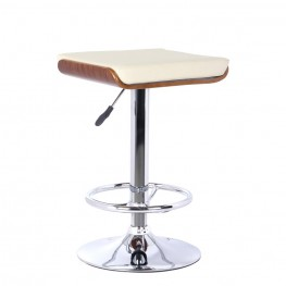Java Barstool in Chrome finish with Walnut Wood and Cream Pu upholstery