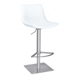 Armen Living Luna Barstool in Brushed Stainless Steel with White Pu upholstery