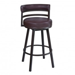 "Armen Living Madrid 26"" Barstool in Auburn Bay finish with Brown Pu upholstery"