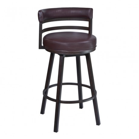 "Madrid 26"" Barstool in Auburn Bay finish with Brown Pu upholstery"
