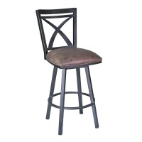 "Armen Living Nova 26"" Barstool in Mineral finish with Bandero Tobacco upholstery"