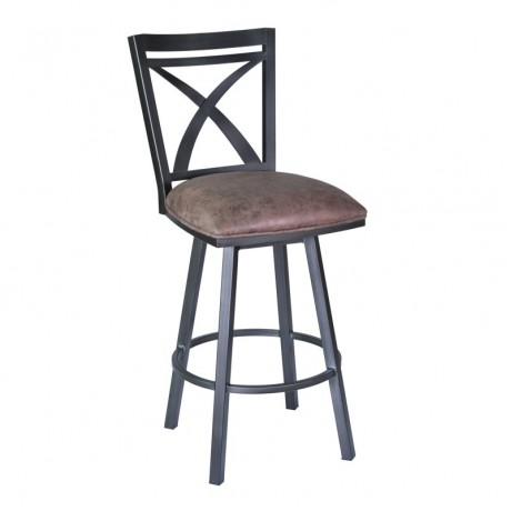 "Nova 26"" Barstool in Mineral finish with Bandero Tobacco upholstery"