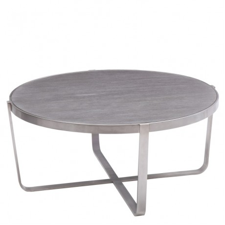 Armen Living Nova Coffee Table in Brushed Stainless Steel with Gray top