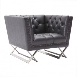 Armen Living Odyssey Chair in Brushed Steel finish with Vintage Black Pu upholstery and Silver Nail heads