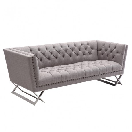 Odyssey Sofa in Brushed Steel finish with Gray Tweed upholstery and Black Nail heads