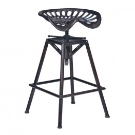 Armen Living Osbourne Adjustable Barstool in Industrial Copper finish and seat
