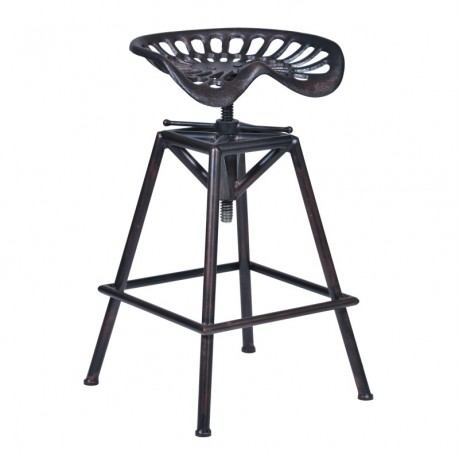 Osbourne Adjustable Barstool in Industrial Copper finish and seat