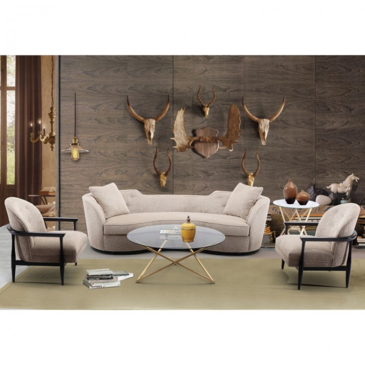 Bon Palisade Transitional Sofa In Sand Fabric With Brown Legs
