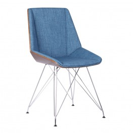 Armen Living Pandora Chair in Chrome finish with Walnut Wood and Blue Fabric upholstery