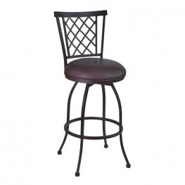 "Armen Living Reno 26"" Barstool in Auburn Bay finish with Brown Pu upholstery"