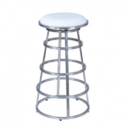 "Armen Living Ringo 30"" Barstool in Brushed Stainless Steel finish with White Pu upholstery"