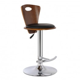 Armen Living Seattle Barstool in Chrome finish with Black Pu upholstery and Walnut back