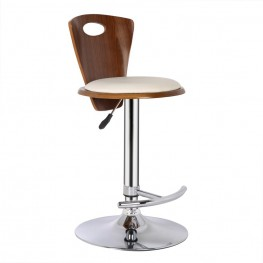 Armen Living Seattle Barstool in Chrome finish with Cream Pu upholstery and Walnut back
