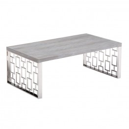 Armen Living Skyline Gray Wash Coffee Table in Brushed Steel finish