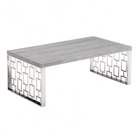 Skyline Gray Wash Coffee Table in Brushed Steel finish