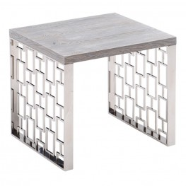 Armen Living Skyline Gray Wash End Table in Brushed Steel finish