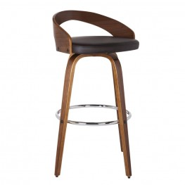 "Armen Living Sonia 26"" Barstool in Walnut Wood finish with Brown Pu upholstery"