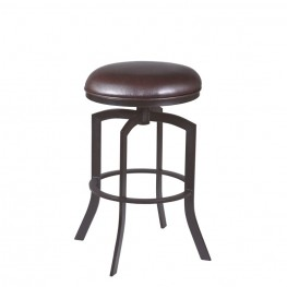 "Armen Living Studio 26"" Barstool in Auburn Bay finish with Brown Pu upholstery"