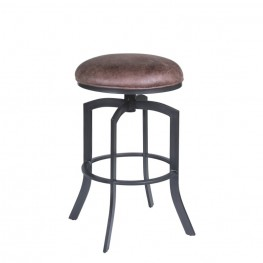 "Armen Living Studio 26"" Barstool in Mineral finish with Bandero Tobacco upholstery"