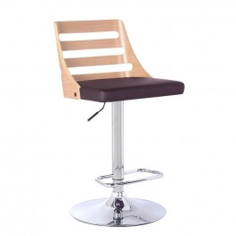 Armen Living Storm Barstool in Chrome finish with Oak Wood and Brown Pu upholstery