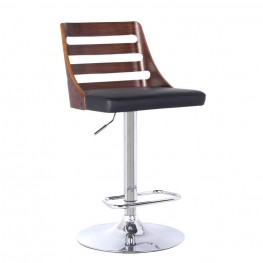Armen Living Storm Barstool in Chrome finish with Walnut Wood and Black Pu upholstery