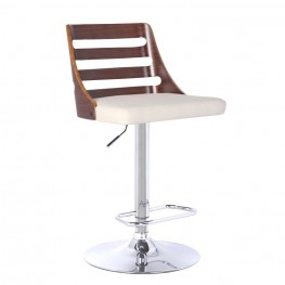 Armen Living Storm Barstool in Chrome finish with Walnut Wood and Cream Pu upholstery
