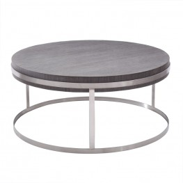 Armen Living Sunset Coffee Table in Brushed Steel finish with Gray top