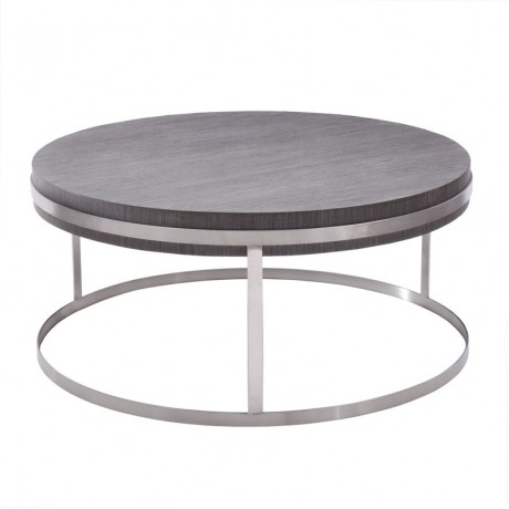 Sunset Coffee Table in Brushed Steel finish with Gray top
