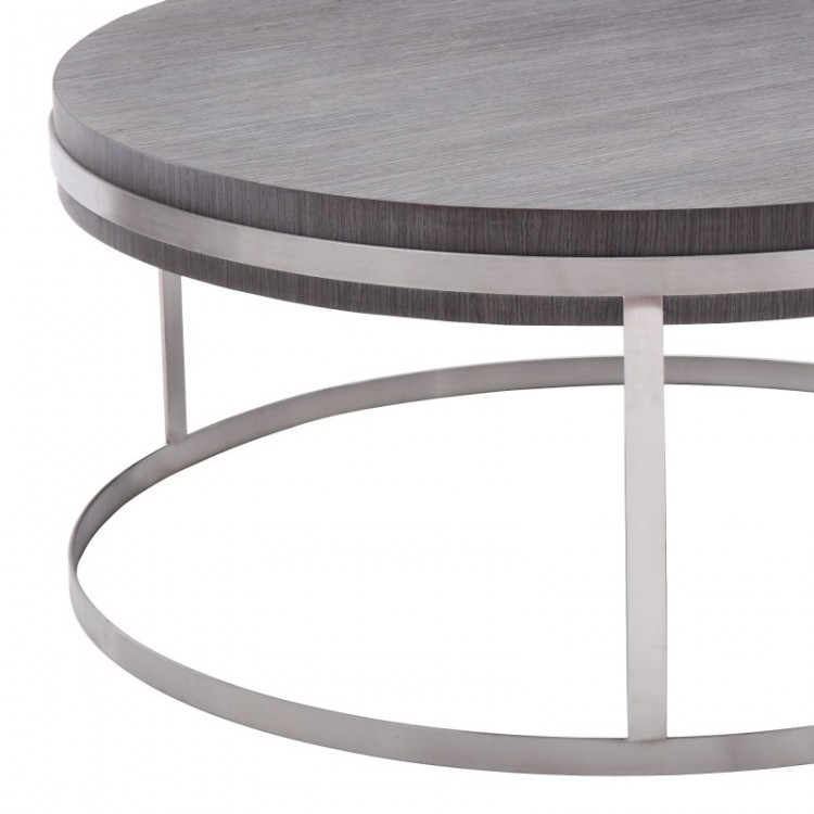 Brushed Aluminum Coffee Table: Armen Living Sunset Coffee Table In Brushed Steel Finish
