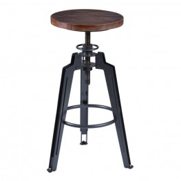 Tribeca Adjustable Barstool in Industrial Gray finish with Pine Wood seat