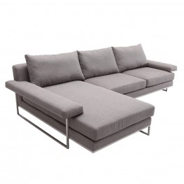 Armen Living Venice Corner Sofa Sectional in Brushed Steel finish with Gray Fabric upholstery