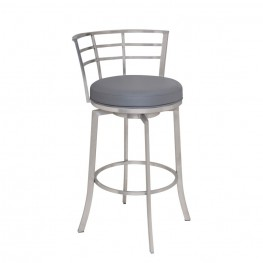 "Armen Living Viper 26"" Barstool in Brushed Stainless Steel finish with Gray Pu upholstery"