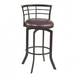 "Armen Living Viper 30"" Barstool in Auburn Bay finish with Brown Pu upholstery"