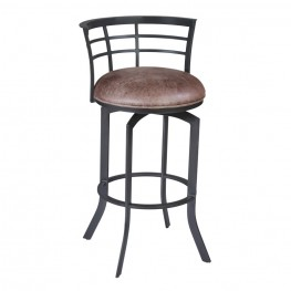 "Armen Living Viper 30"" Barstool in Mineral finish with Bandero Tobacco upholstery"