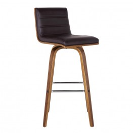 "Armen Living Vienna 30"" Barstool in Walnut Wood finish with Brown Pu upholstery"