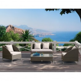 Armen Living Contemporary Outdoor Bahamas 4-piece Gray Wicker Set with Taupe Cushions