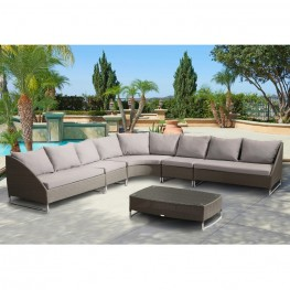 Armen Living Contemporary Outdoor Bahamas 6-piece Gray Wicker Sectional Set with Taupe Cushions