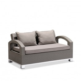 Armen Living Modern Outdoor Bora Bora 4-piece Gray Wicker Set with Taupe Cushions