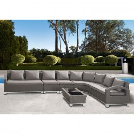 Armen Living Modern Outdoor Bora Bora 6-piece Gray Wicker Sectional Set with Taupe Cushions