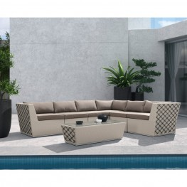 Armen Living Contemporary Outdoor Waikiki 7-piece Outdoor Wicker Sectional Set with Taupe Cushions