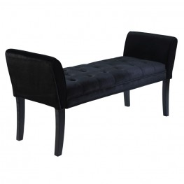 Armen Living Chatham Bench in Black Velvet
