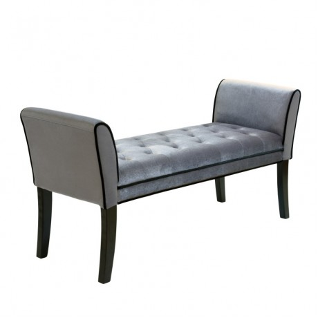 Chatham Bench in Gray Velvet
