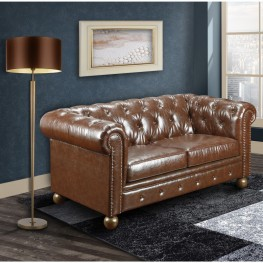 Winston Vintage Mocha Bonded Leather Loveseat