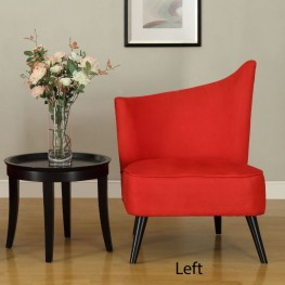Elegant Accent Chair With Flared Back (Left Side) In Red Microfiber